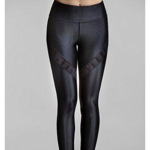 LIKE NEW! TITIKA Lacquered Black Mesh Leggings